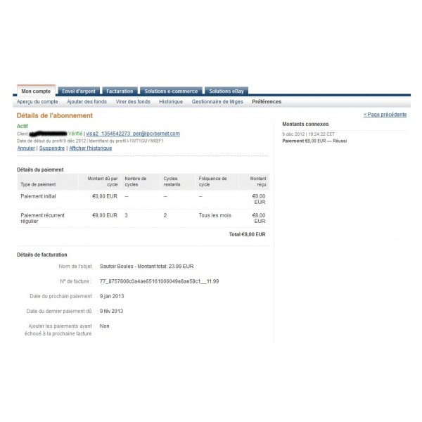 Compte business paypal